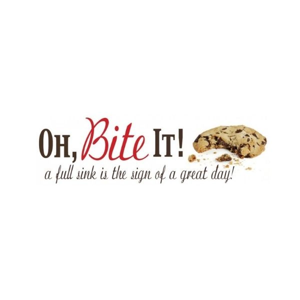Oh,Bite it! a full sink is the sign of a great day! logo