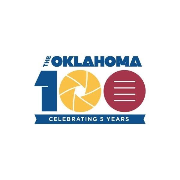 The Oklahoma 100 celebrting 5 years logo